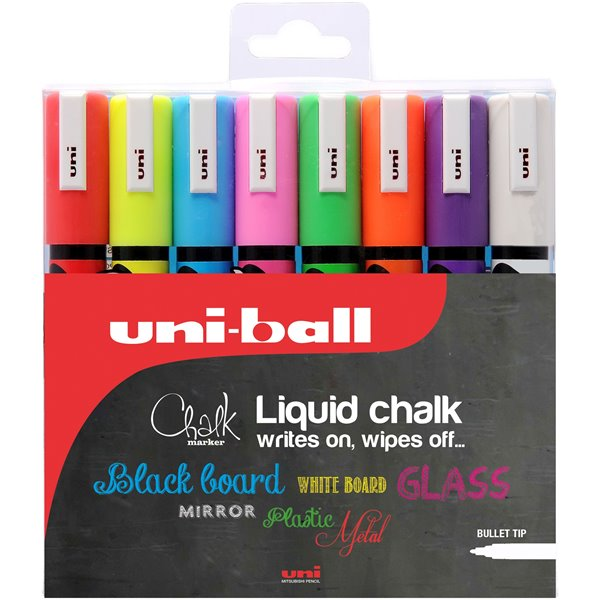 China Markers Uni Chalk Marker Bullet Tip Medium Assorted PK8