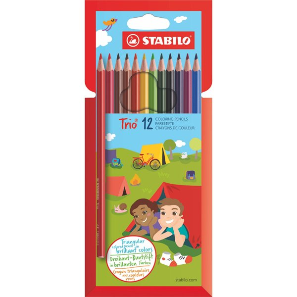 Pencils (Wood Case) Stabilo Trio Thin Colouring Pencils PK12