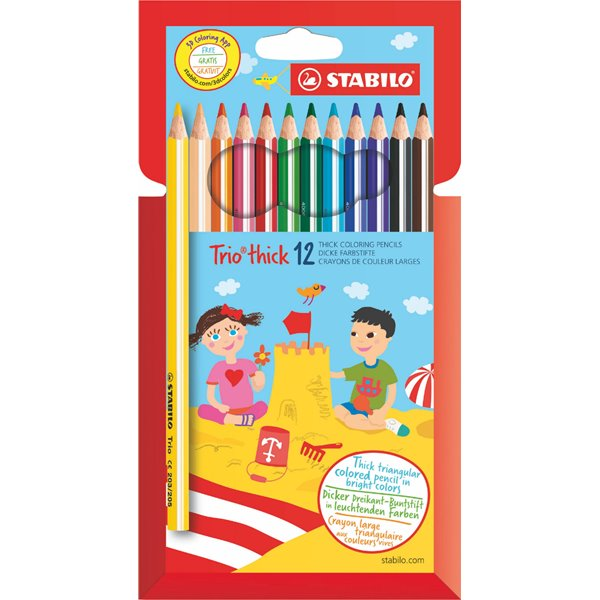 Pencils (Wood Case) Stabilo Trio Thick Colouring Pencils PK12