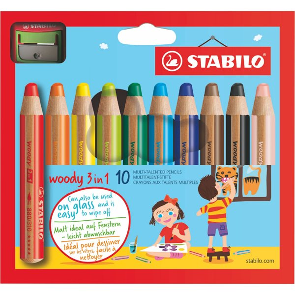 Colouring / Drawing Pencils Stabilo Woody 3 in 1 Colouring Pencils with Sharpener PK10