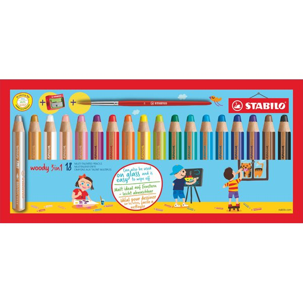 Colouring / Drawing Pencils Stabilo Woody 3 in 1 Coloring Pencils Pnt Brsh & Shrpnr PK18