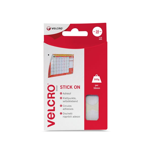 Accessories VELCRO White Stick On Coins 16mm 16 Sets