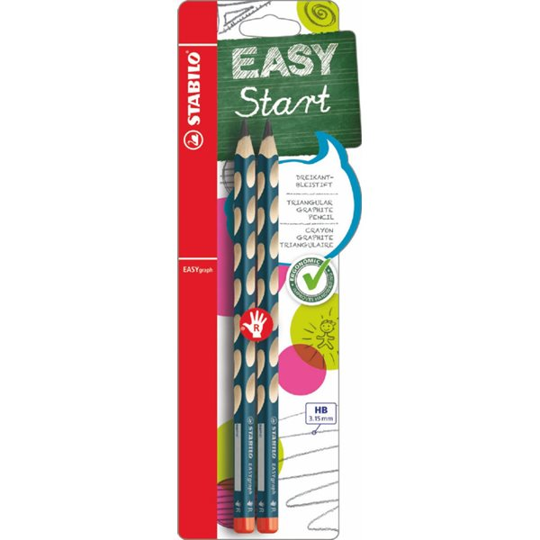 Stabilo EASYgraph HB Pencil Right petrol blister of 2