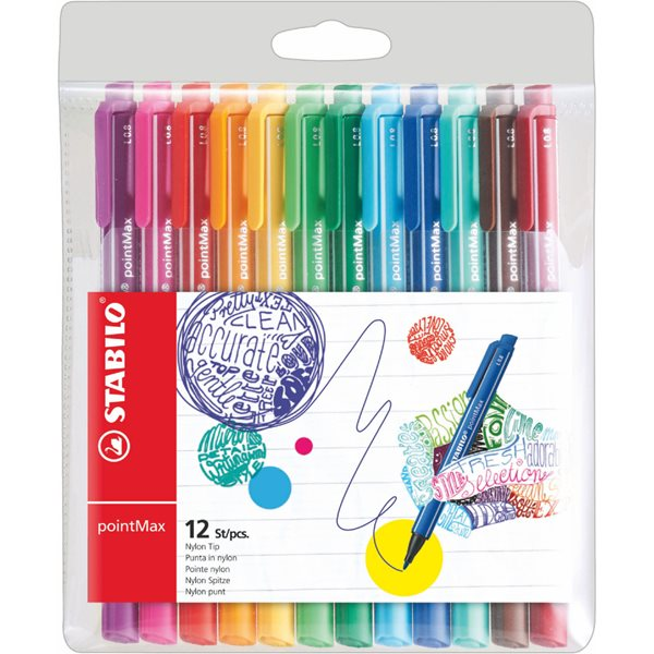 Stabilo PointMax Premium Writing Felt Pen Assorted PK12