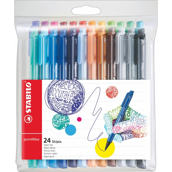 Stabilo PointMax Premium Writing Felt Pen Assorted PK24
