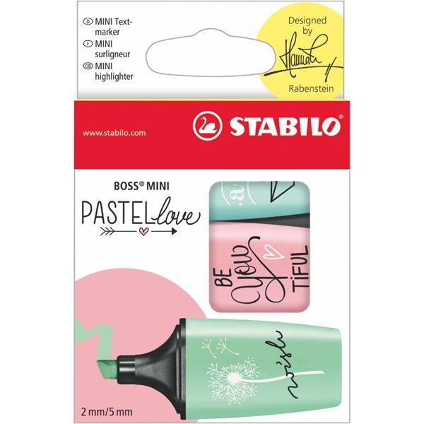 Highlighters Stabillo Boss Pastellove Highlighters Mint Blush & Turq PK3