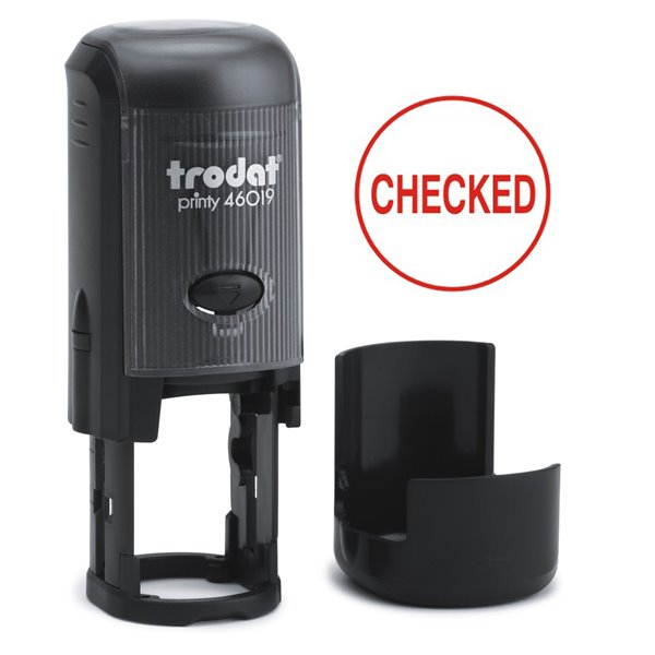 Stamps Trodat Printy 46019 Word Stamp Self Inking Red CHECKED
