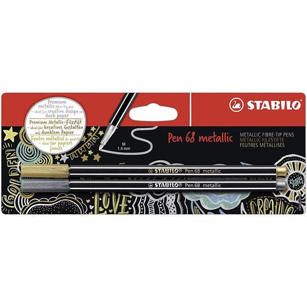 Colouring Pens Stabilo Pen 68 Metallic Gold and Silver PK2