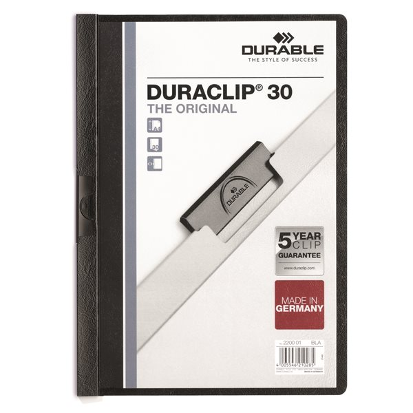 Clip Files Durable Duraclip 30 Report File 3mm A4 Black 220001 (PK25)
