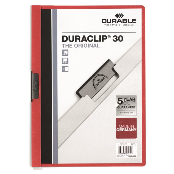 Clip Files Durable Duraclip 30 Report File 3mm A4 Red 220003 (PK25)