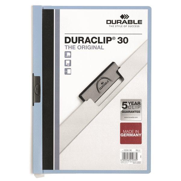 Clip Files Durable Duraclip 30 Report File 3mm A4 Blue 220006 (PK25)