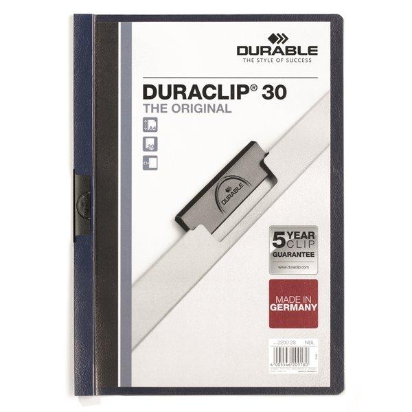 Clip Files Durable Duraclip 30 Report File 3mm A4 MN Blue 220028 (PK25)