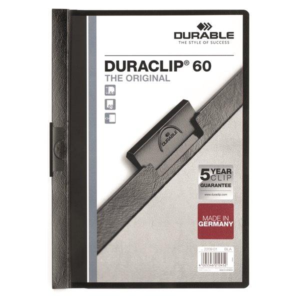 Clip Files Durable Duraclip 60 Report File 6mm A4 Black 220901 (PK25)