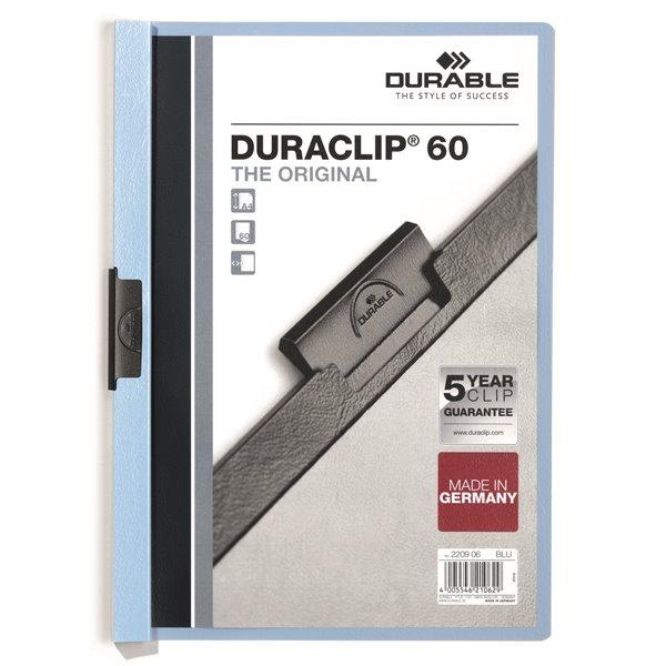 Clip Files Durable Duraclip 60 Report File 6mm A4 Blue 220906 (PK25)