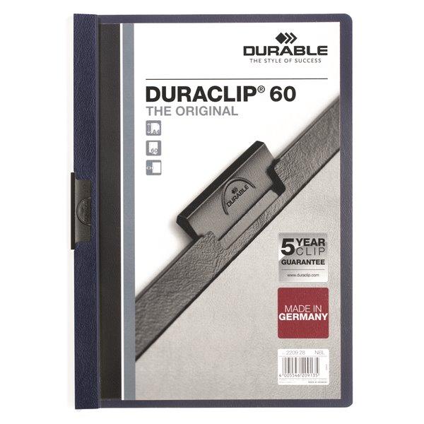 Clip Files Durable Duraclip 60 Report File 6mm A4 MN Blue 220928 (PK25)
