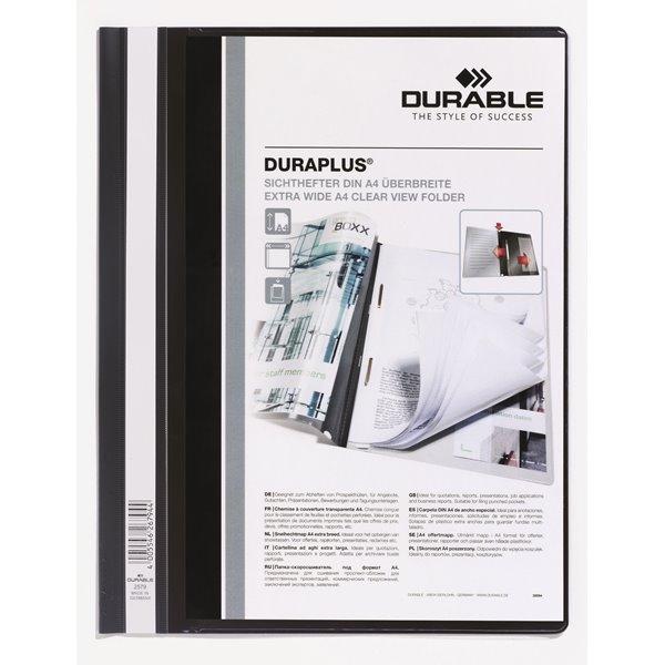 Durable Duraplus Report Folder ExWide A4 Black 257901 (PK25)