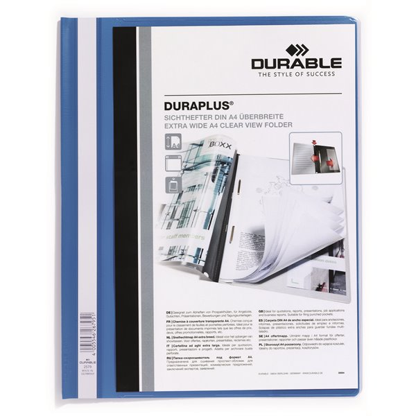 Durable Duraplus Report Folder Extra Wide A4 Blue (PK25)