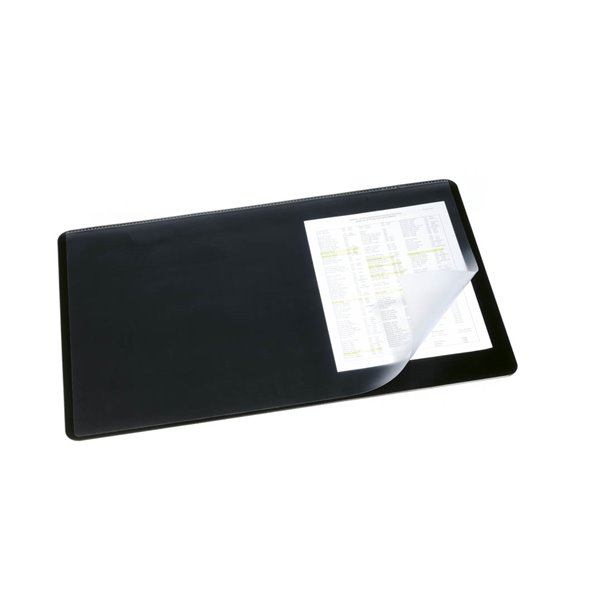 Durable Desk Mat With Transparent Overlay 40x60 Black