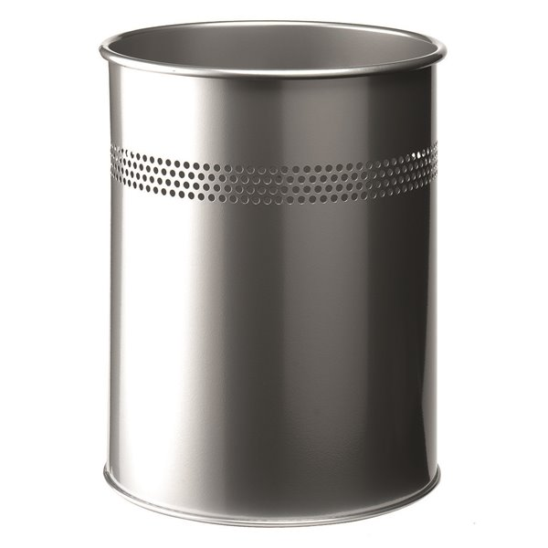 Durable Waste Bin Metal Round Perf 15L 30mm Silver 330023