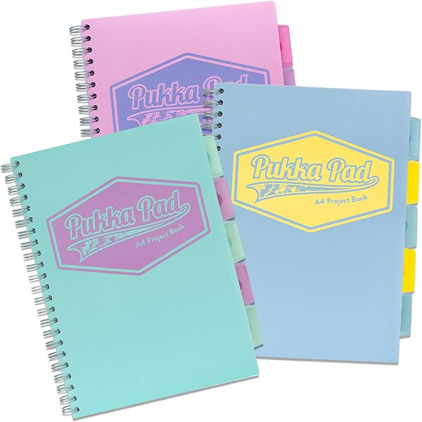 Spiral Note Books Pukka A4 Pastel Project Book Blue/Pink/Mint PK3
