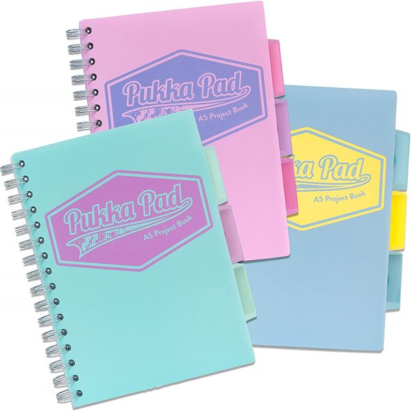 Spiral Note Books Pukka A5 Pastel Project Book Blue/Pink/Mint PK3