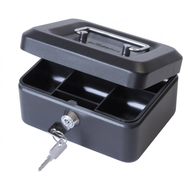 Value 15cm (6 inch) Key Lock Metal Cash Box Black