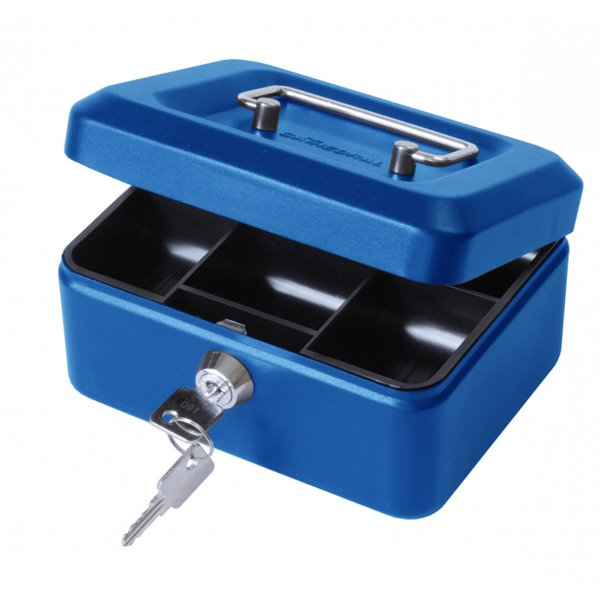 Value 15cm (6 inch) key lock Metal Cash Box Blue