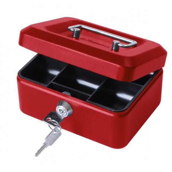 Value 15cm (6 inch) key lock Metal Cash Box Red