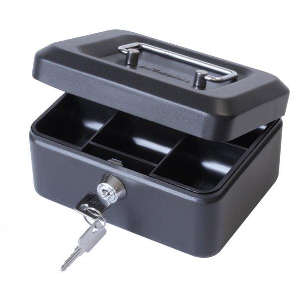 Value 20cm (8 Inch) Key Lock Metal Cash Box Black
