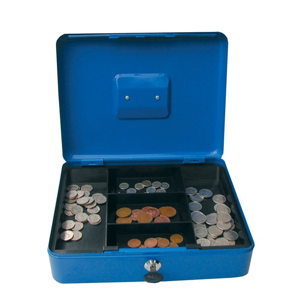 Value 25cm (10 Inch) key lock Metal Cash Box Blue