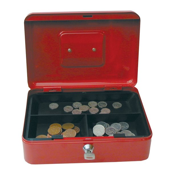 Value 25cm (10 Inch) key lock Metal Cash Box Red