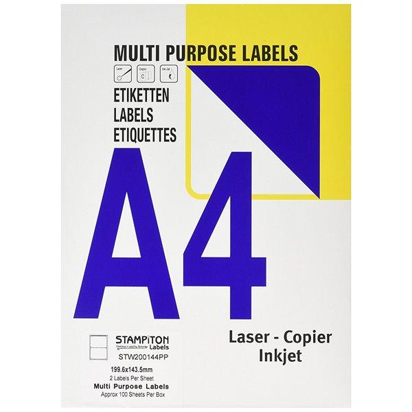 Value Multipurpose Label 199.6x143.5mm 2 Per Sht (200Labels)