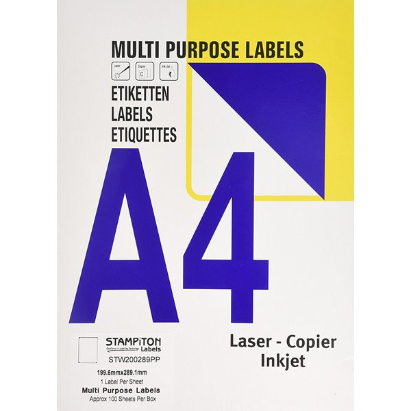 Value Multipurpose Label 199.6x289.1mm 1 Per Sht (100Labels)