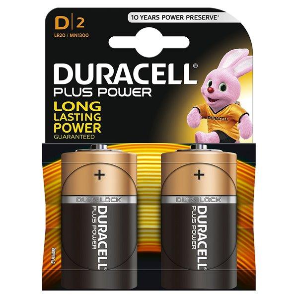 D Duracell D Plus Batteries PK2