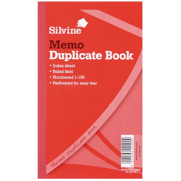 Duplicate Silvine Dup Book Rule 81/4x5in PK6