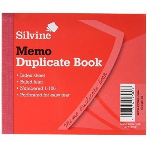 Silvine Duplicate Book Ruled 4x5in PK12