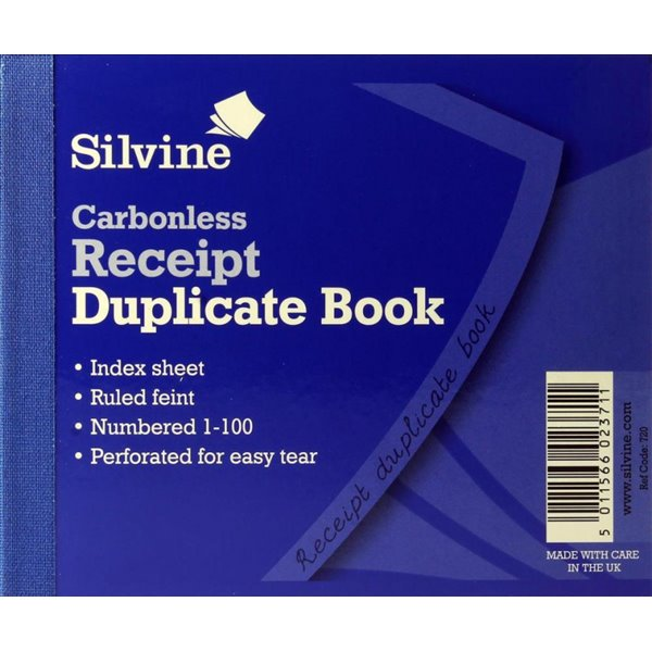 Silvine C/less Dup Receipt Book PK12