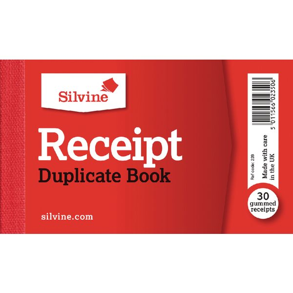 Duplicate Silvine Receipt Book 63x106mm PK36