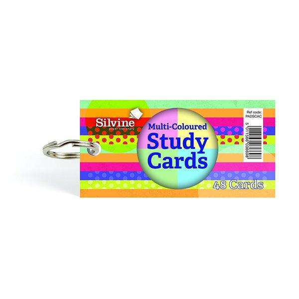 Silvine Multicoloured Study Cards 50x100mm