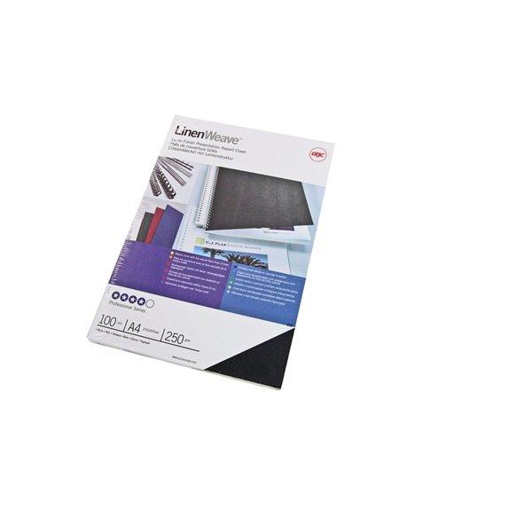 GBC Linen Weave Cover Set 250gsm Black A4 CE050010(50 PAIRS)