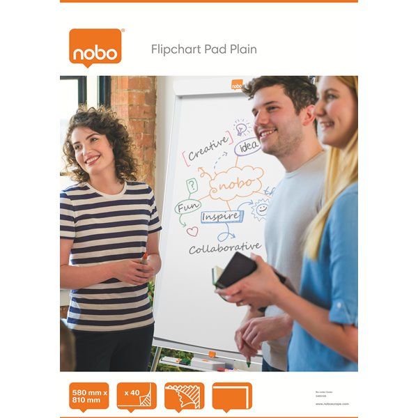 Nobo Flipchart Pad Perforated 40 Sheets A1 Plain PK5