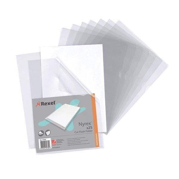 Rexel Nyrex Folder Cut Flush A4 Clear 12153 (PK25)
