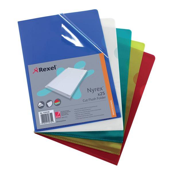 Rexel Nyrex Folder Cut Flush A4 Assorted Std 12161AS (PK25)