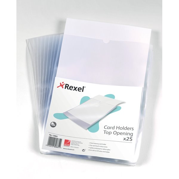 Card Holders Rexel Card Holder Top Opening Wipe-Clean A4 12092 (PK25)