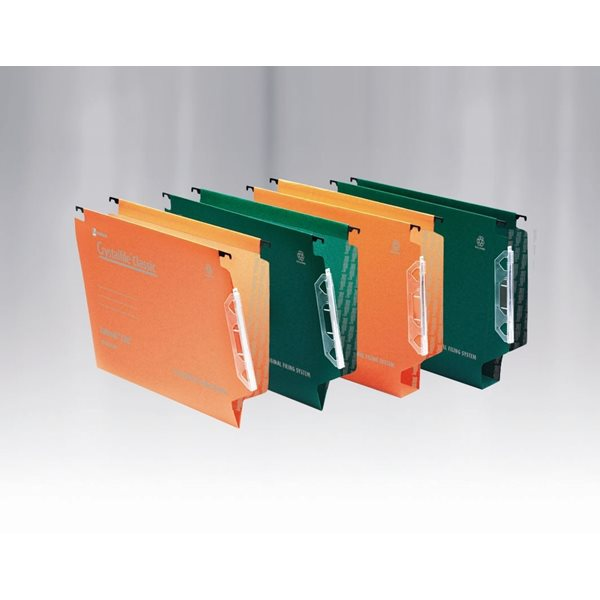 Lateral Files Rexel Crystalfile Classic Lateral File VBase 15mm Green PK50