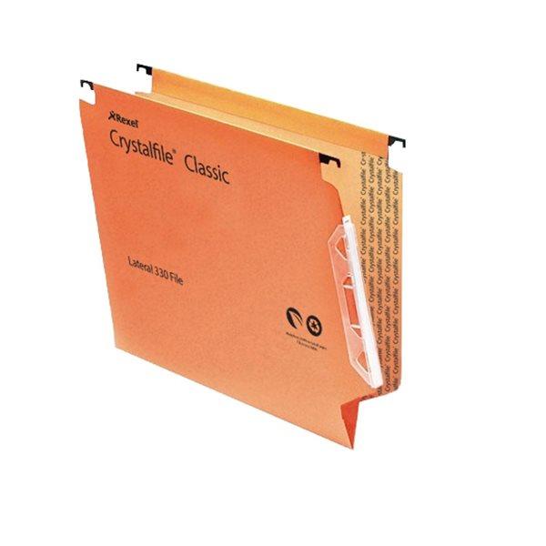 Lateral Files Rexel Crystalfile Classic Lat File V-Base 15mm Orange PK50