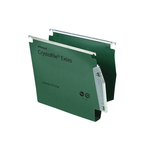 Lateral Files Rexel Crystalfile Extra Lateral File PP 30mm Base Green PK25