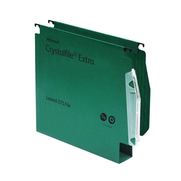 Lateral Files Rexel Crystalfile Extra Lateral File 275 PP 50mm Green PK25