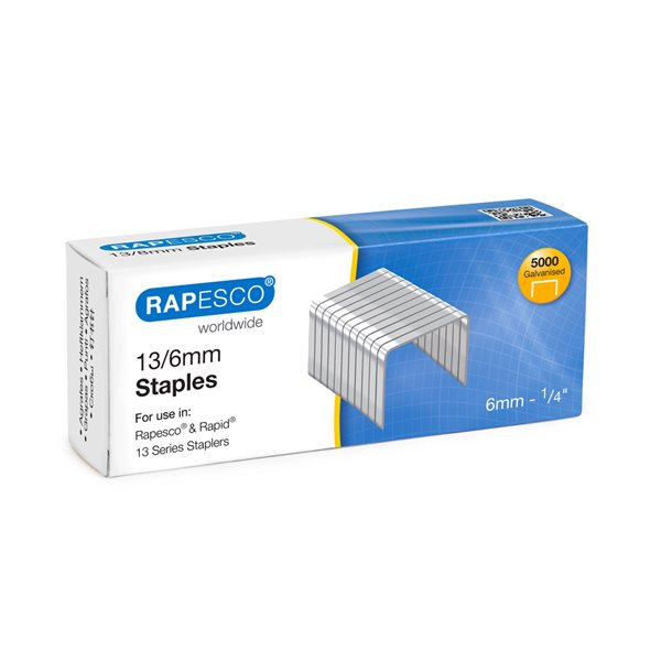 Staples Rapesco 13/6mm Galvanised Staples PK5000