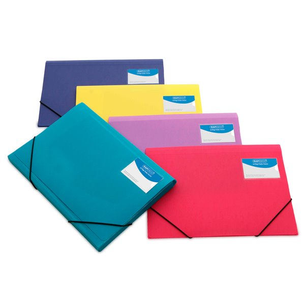 Clip Files Rapesco A4 Plus 3Flap Folio Wallet Elasticated Assorted (Pack 5)